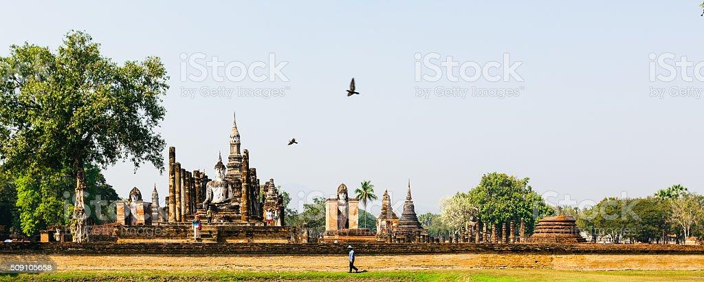Wat Mahathat temple in Sukhothai, Thailand. stock photo