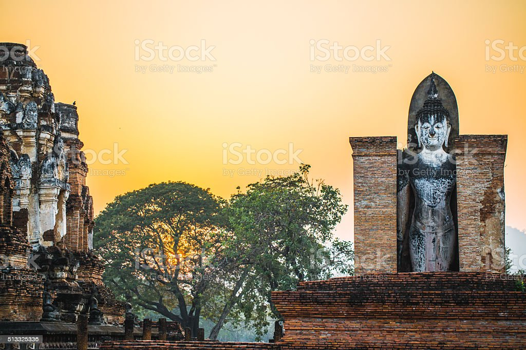 Wat Mahathat, View of Buddha statue in Sukhothai temple stock photo
