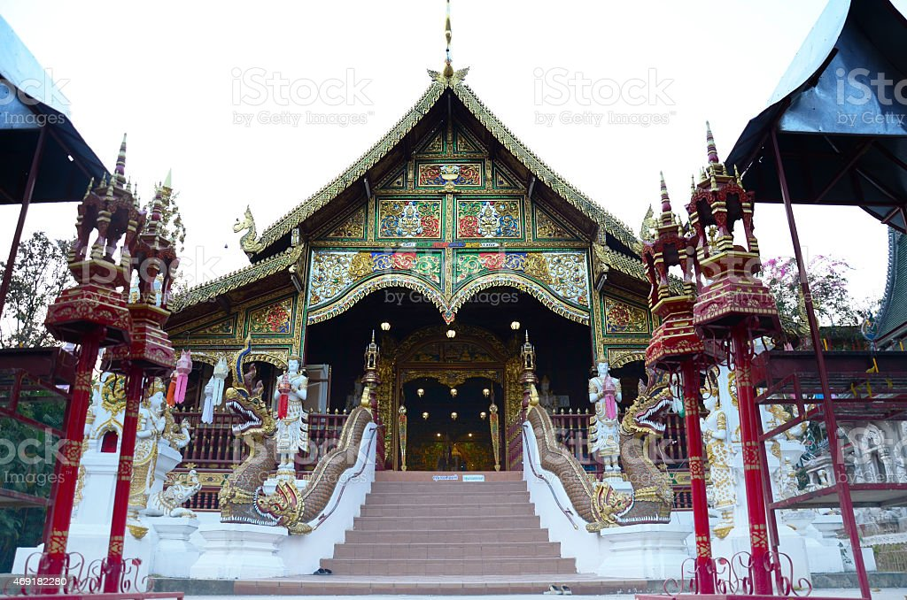 Wat Ming Mueang in evening at Chiang Rai, Thailand stock photo