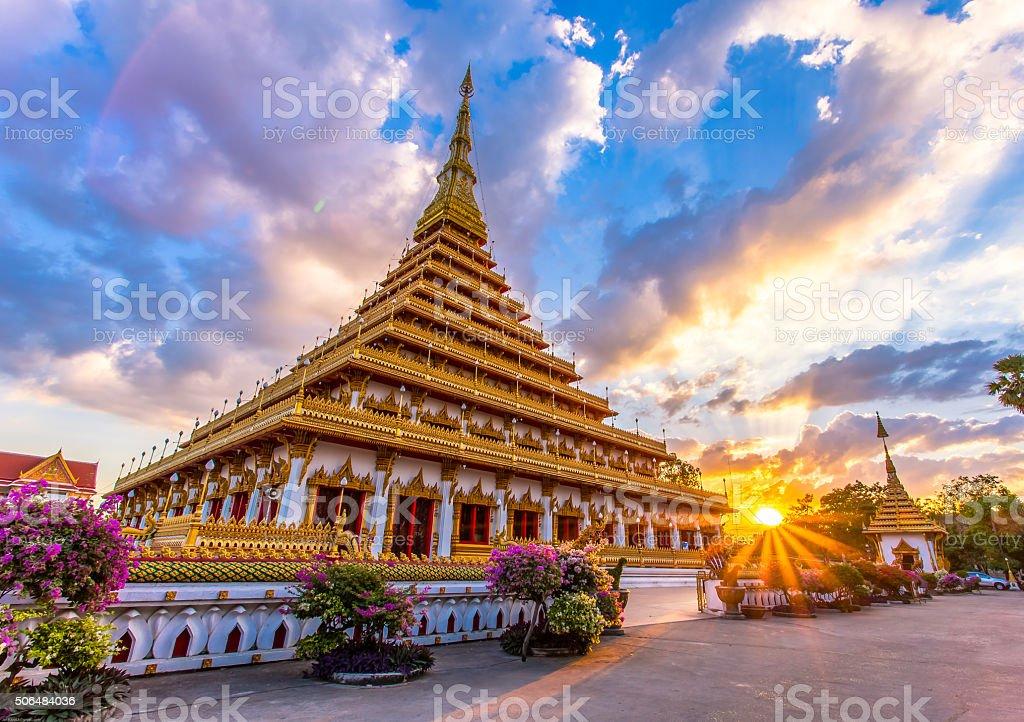 'Wat Nhong wang' Golden Thai Buddha temple ,Khonkaen Thailane stock photo