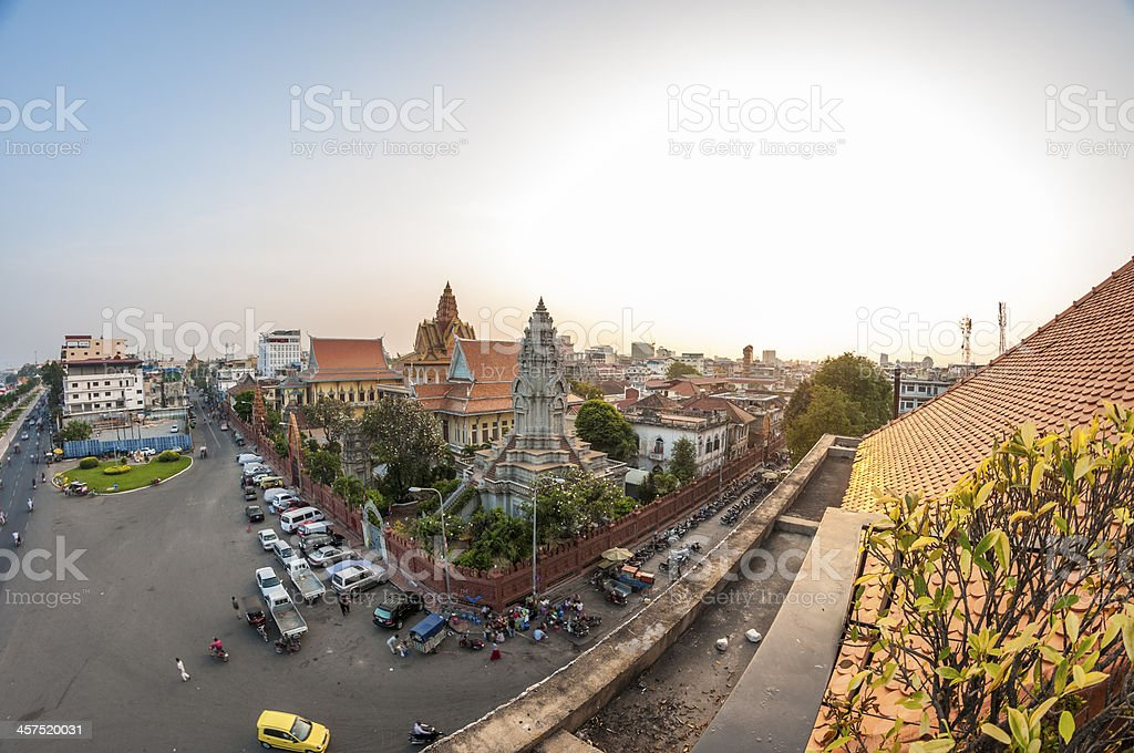 Wat Ounalom At Sunset In Phnom Penh royalty-free stock photo