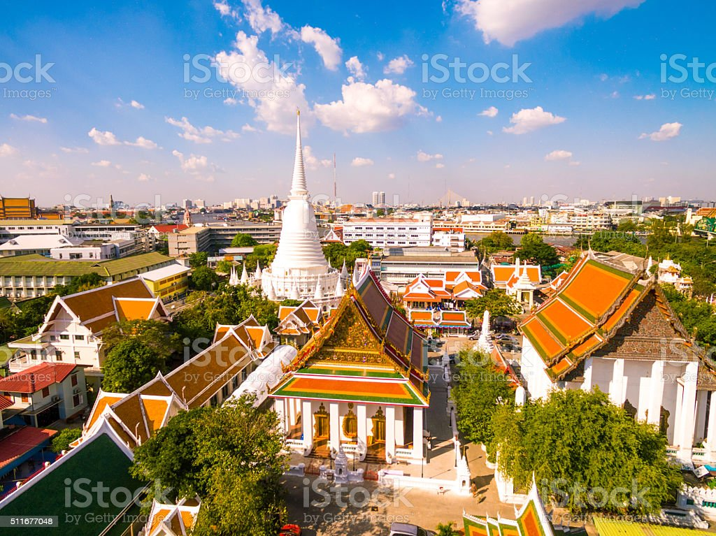 Wat Pathum Wanaram in Bangkok, Thailand stock photo