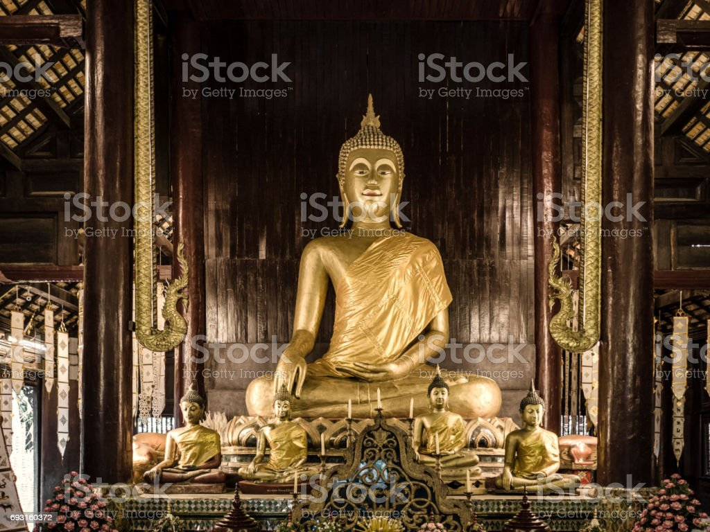 Wat Phan Tao temple Chiang Mai Thailand stock photo