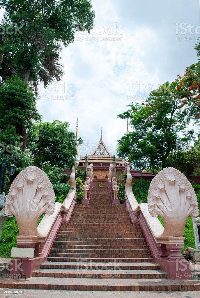 Wat Phnom in Cambodia stock photo