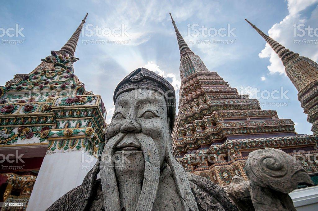 wat pho statue bangkok temple thailand stock photo