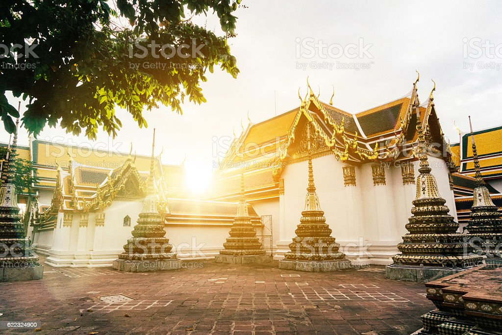 Wat Pho temple at sunrise stock photo