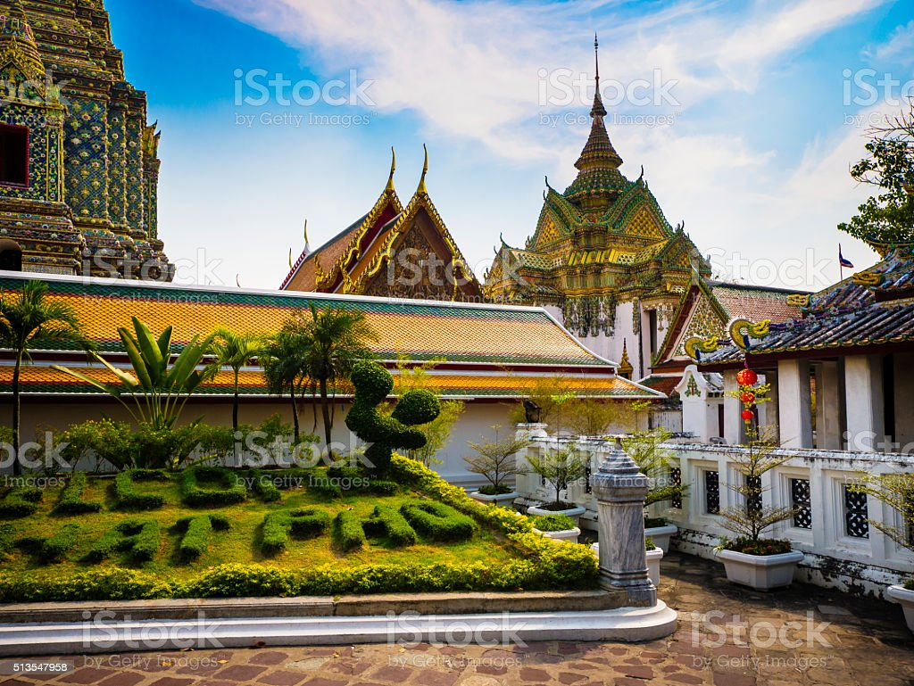 Wat Pho temple complex Bangkok Thailand stock photo