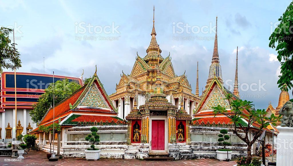 Wat Pho Temple  in Bangkok, Thailand. stock photo