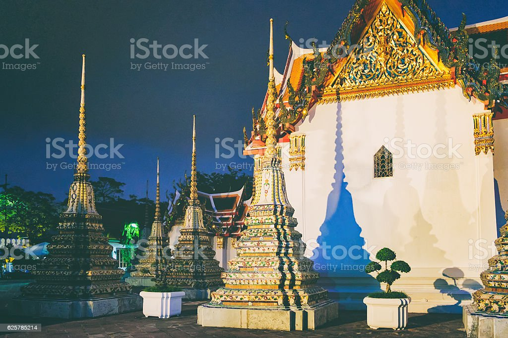 Wat Pho Temple in night, Bangkok Thailand. stock photo
