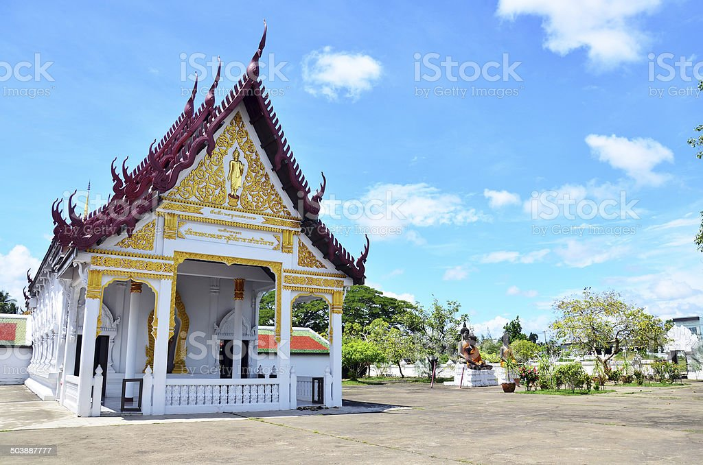 Wat Phra Borommathat Chaiya Temple in Chaiya Surat Thani stock photo