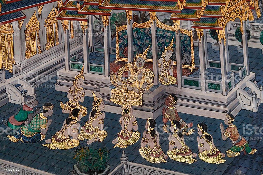 Wat Phra Kaeo Bangkok Thailand. Mythology Wall Painting. royalty-free stock photo