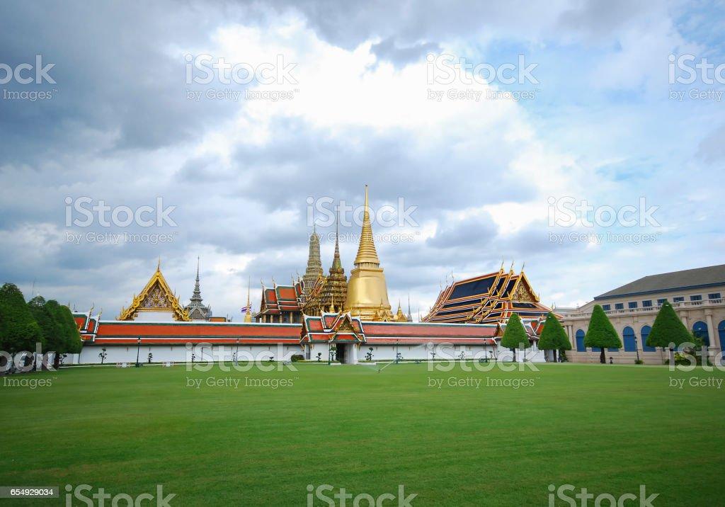 Wat phra kaew and The royal palace stock photo