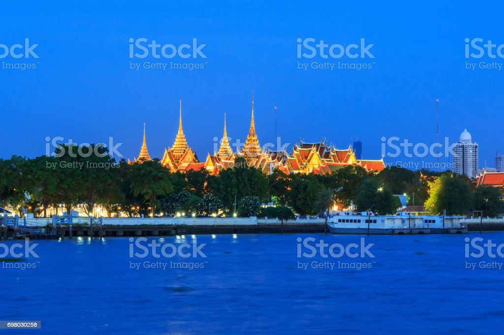 wat phra kaew in sunset time stock photo