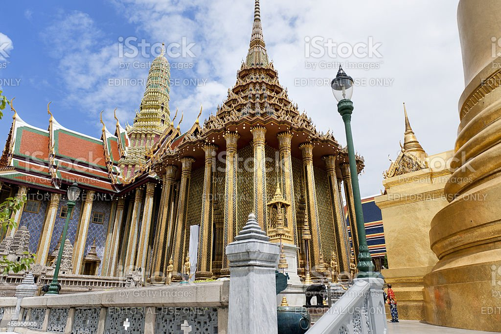 Wat Phra Kaew temple and golden stupa, Bangkok Thailand stock photo