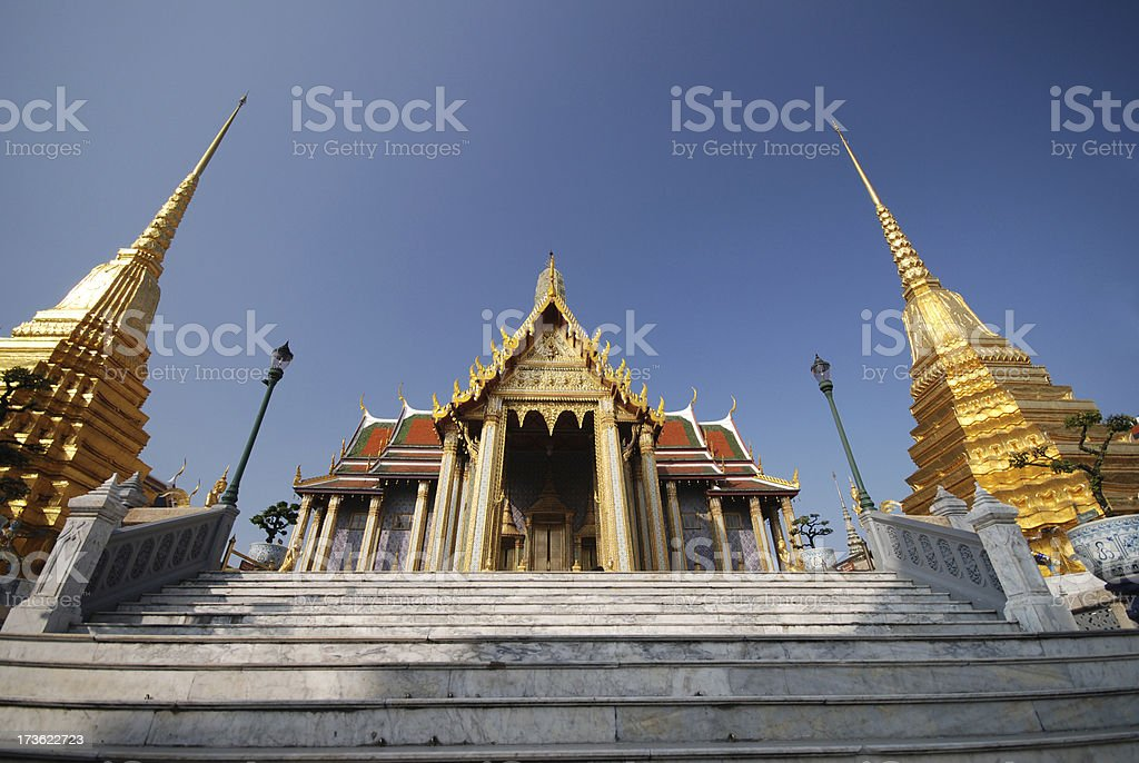 Wat Phra Keow and two Pagodas royalty-free stock photo