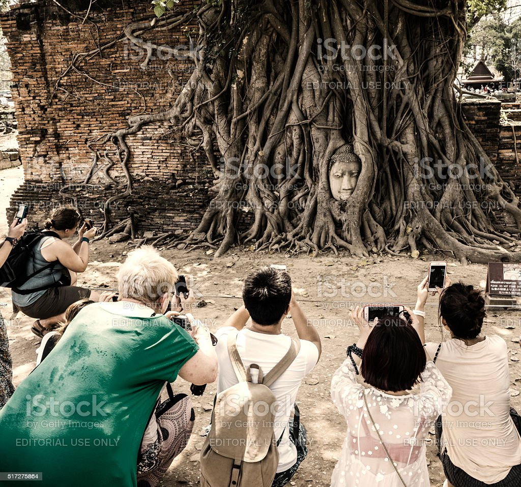 Wat Phra Mahathat Buddha head at Ayutthaya Thailand stock photo
