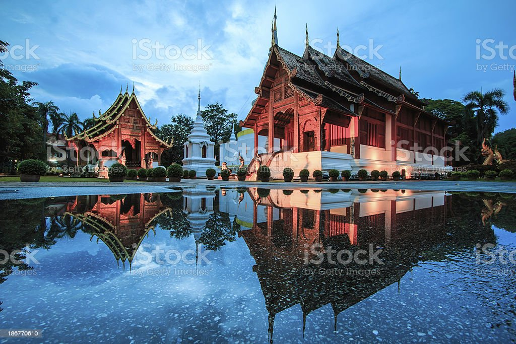 Wat Phra Sing Water reflection  Chiang Mai Province Asia  Thailand stock photo