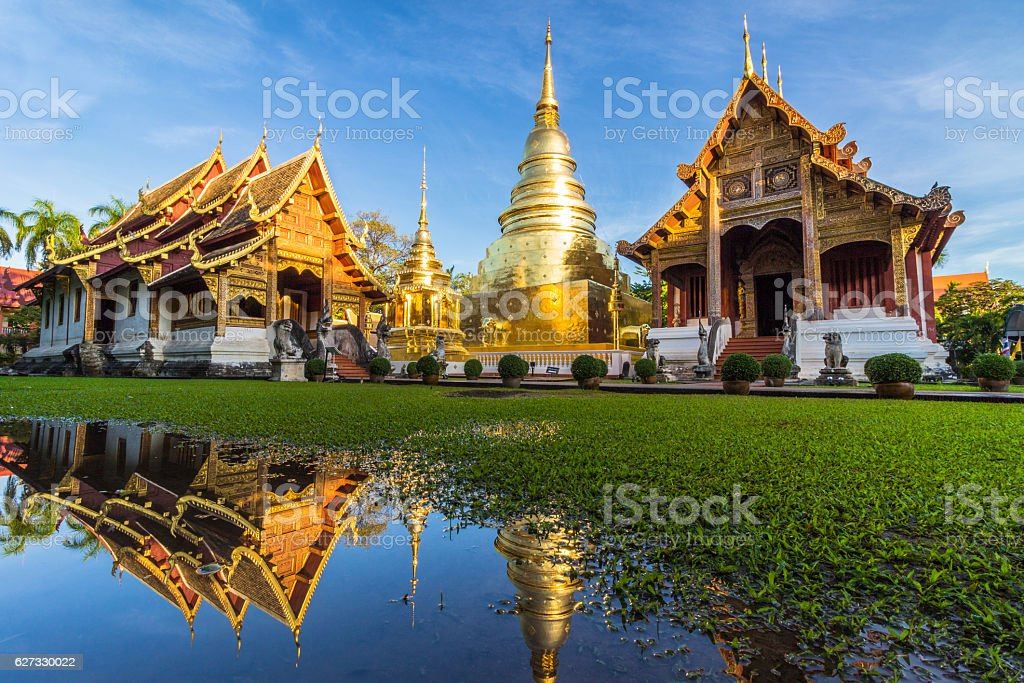 Wat Phra Singh temple and reflection in water. Chiang Mai stock photo