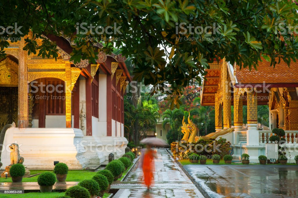 Wat Phra Singh Temple, Chiang Mai, Thailand stock photo