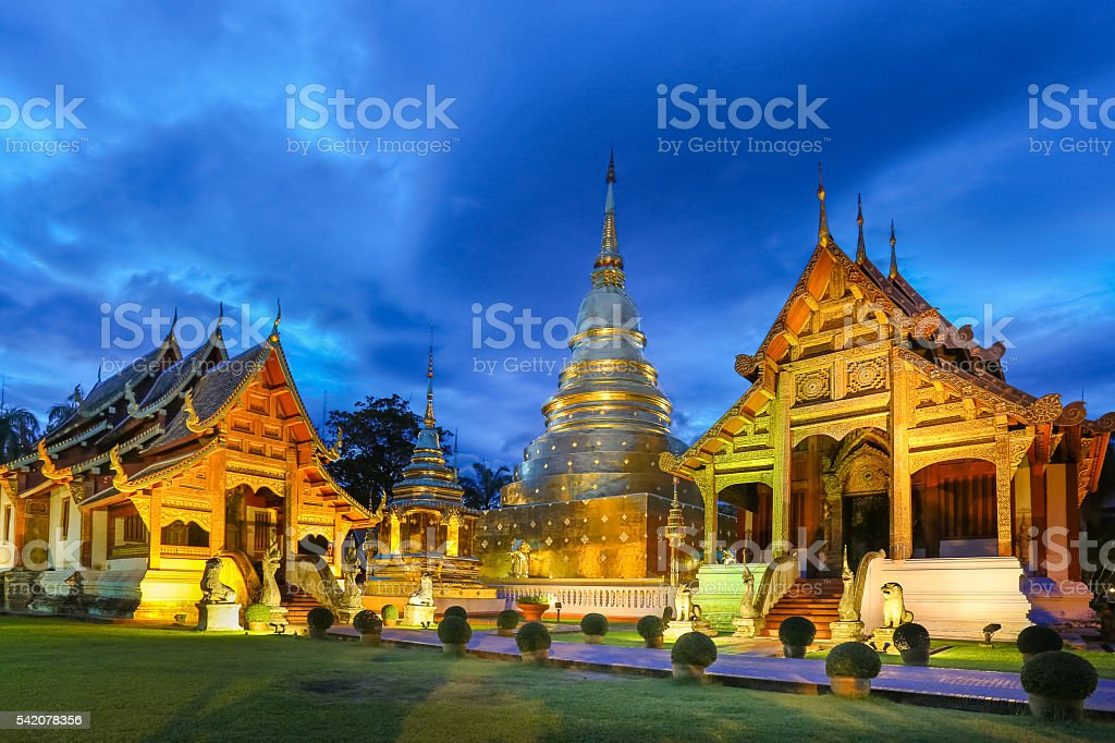 Wat Phra Singh temple in Chiang Mai Province ,Thailand, stock photo