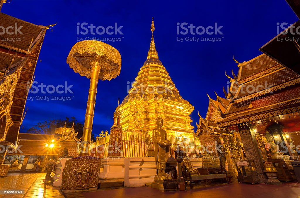 Wat Phra That Doi Suthep, Popular historical temple in Thailand stock photo