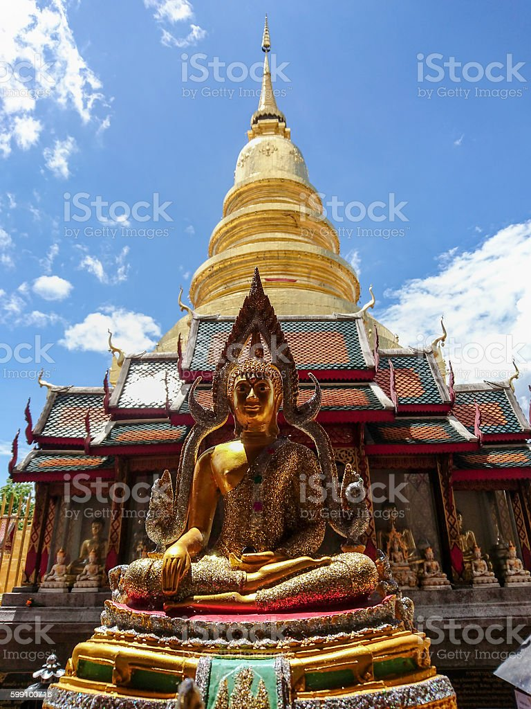 Wat Phra That Haripunchai temple in Lamphun, Thailand. stock photo