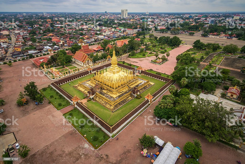 Wat Phra That Luang, Vientiane, Lao PDR stock photo