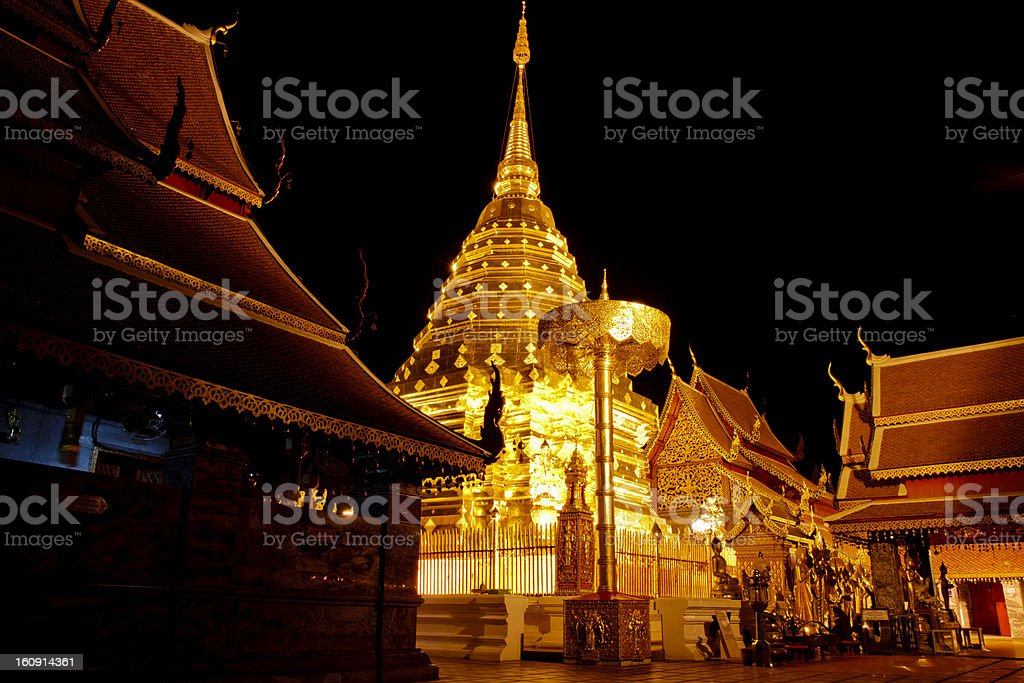Wat Phrathat Doi Suthep in Chiang Mai Province, Thailand. stock photo