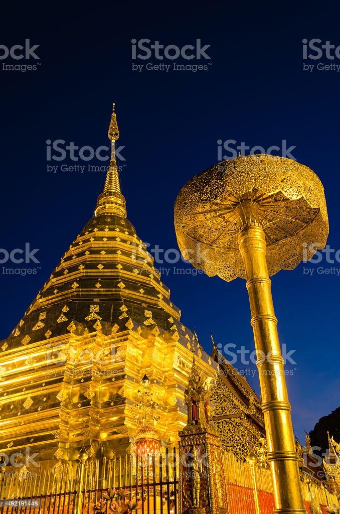 Wat Phrathat Doi Suthep On Night, Chiangmai of Thailand. stock photo