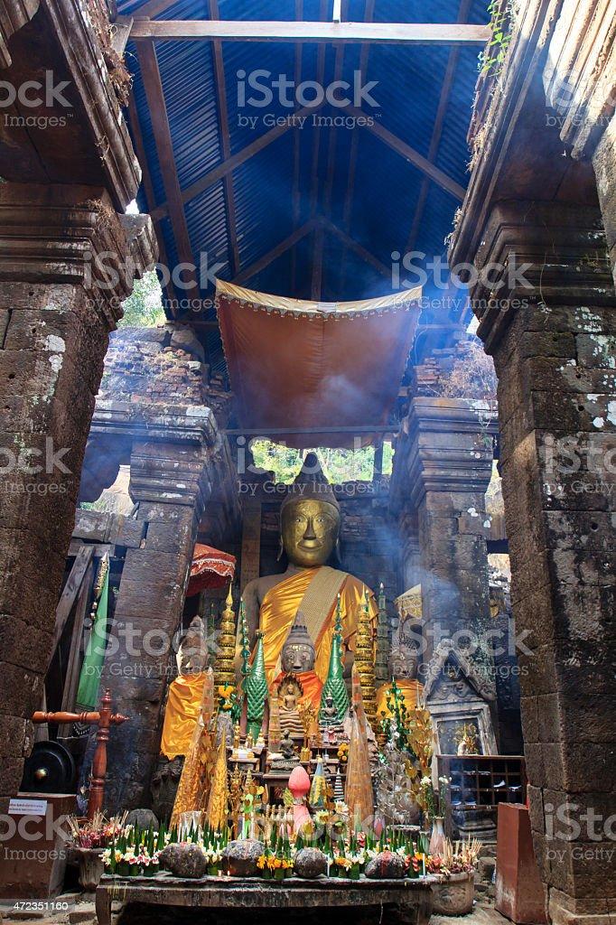 Wat phu Champasak temple ruins, Laos stock photo