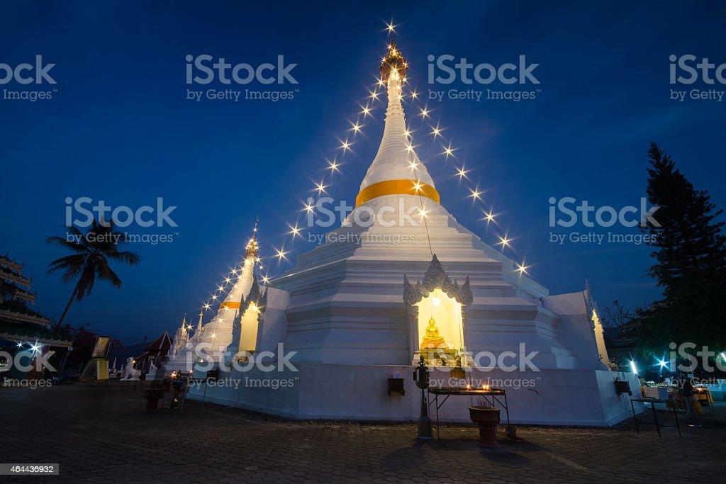 Wat Prathat Doi Kong Mu , Mueang Mae Hong Son , Thailand. stock photo