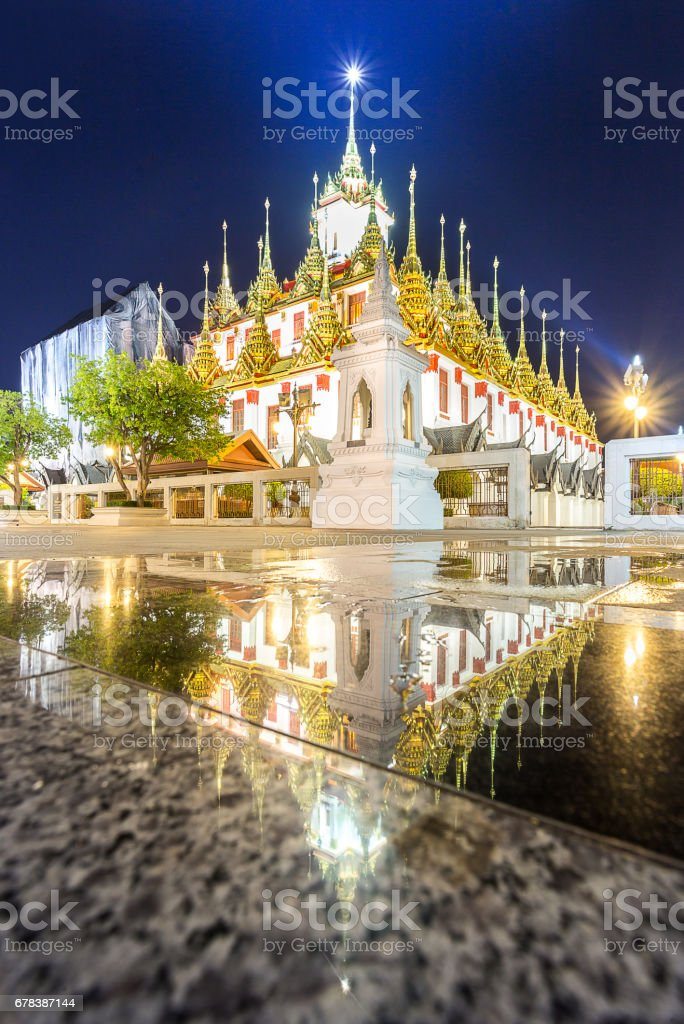 Wat Ratchanadda, Loha Prasat, in sunset time where is the famous stock photo