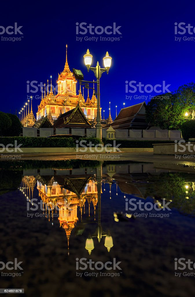 Wat Ratchanatdaram(Loha Prasat) temple during twilight time, Bangkok, Thailand stock photo