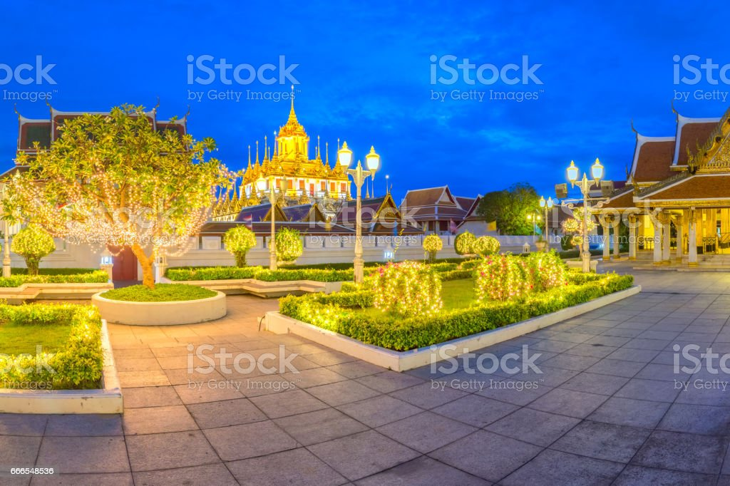 Wat Ratchanatdaram Temple in Bangkok city, Thailand. stock photo