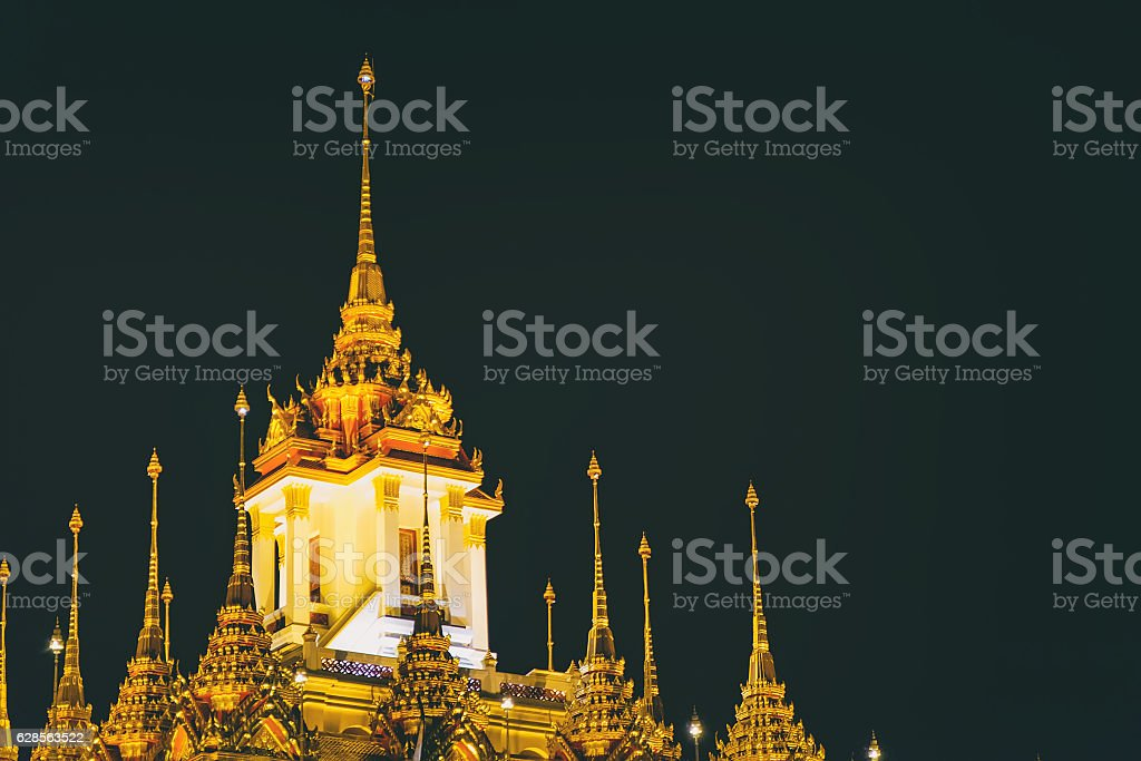 Wat Ratchanatdaram with night lights, Bangkok, Thailand. stock photo