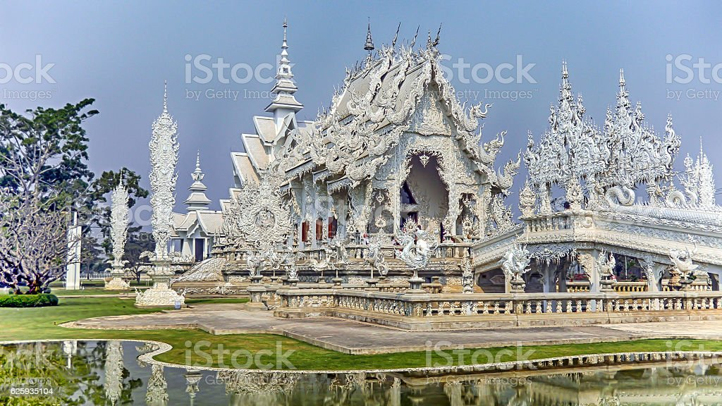 CHIANG RAI, THAILAND MARCH 8, 2010 Wat Rong Khun stock photo