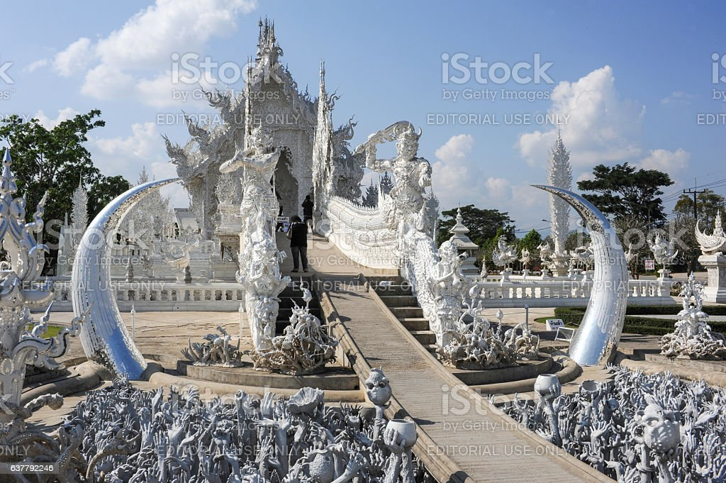 Wat Rong Khun, the White Temple of Chiang Rai stock photo