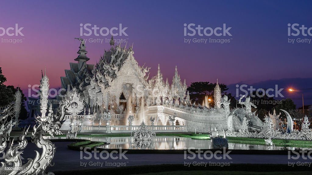 Wat Rong Khung white temple stock photo