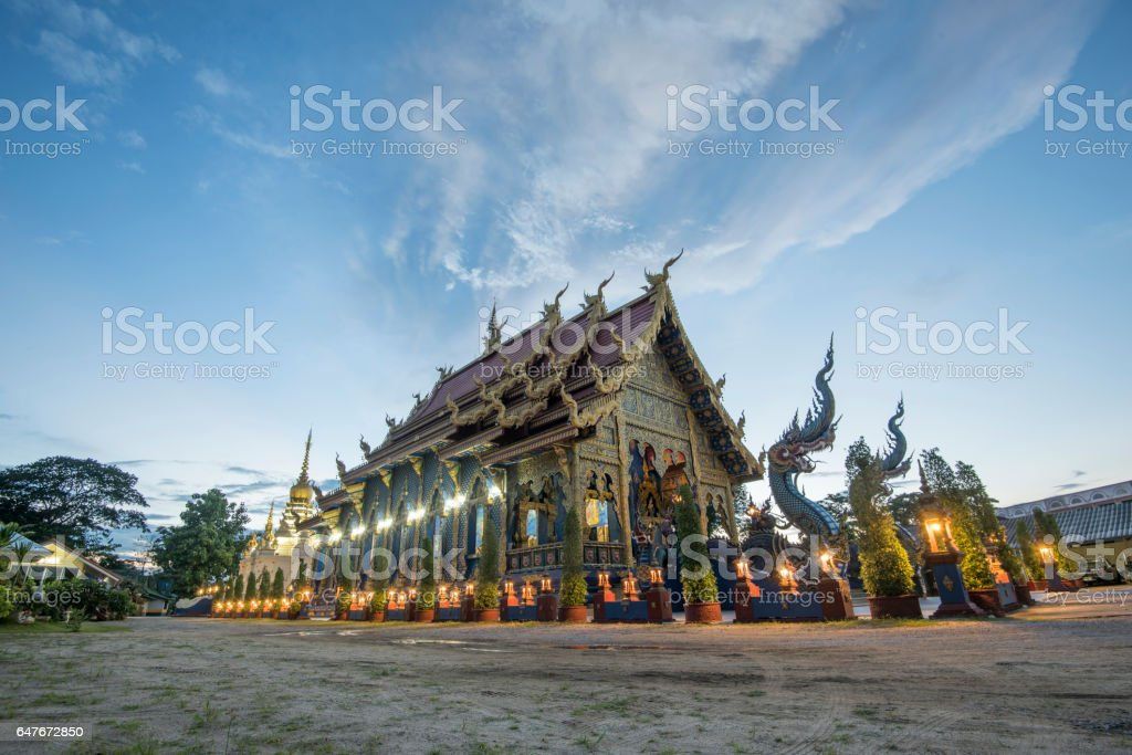 Wat Rong Sua Ten temple is the famous place in chiangrai another name is blue temple locate at chiangrai province north of thailand stock photo