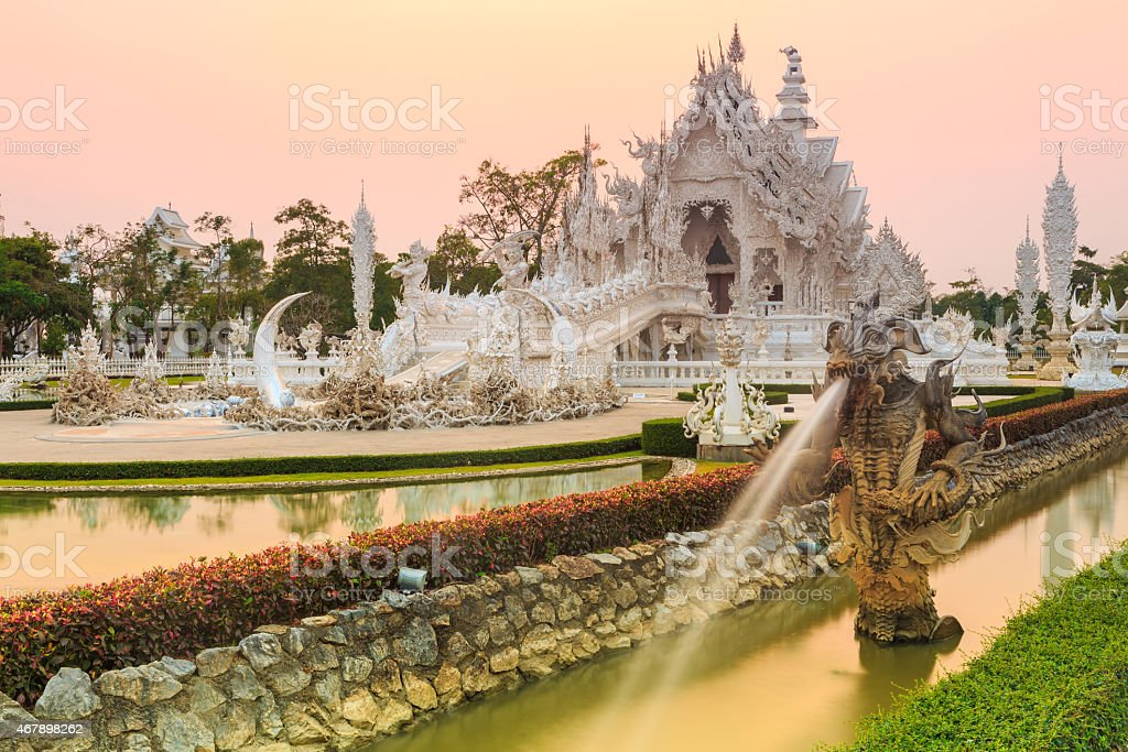 wat rong-khun temple chiangrai thailand stock photo