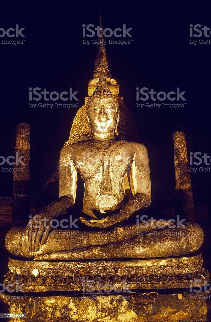 wat sa si illuminated night sukhothai historical park thailand royalty-free stock photo
