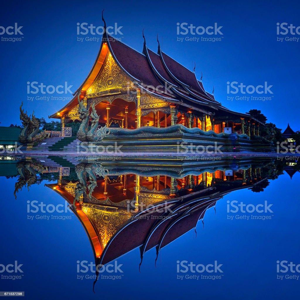 Wat Sirintornwararam the temple in Ubon Ratchathani Province, Thailand stock photo