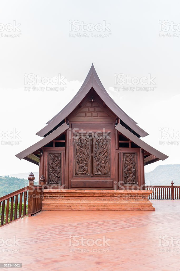 Wat Somdej Phu Ruea Ming Muang new temple in Thailand stock photo