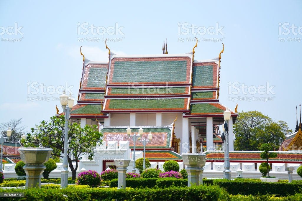 Wat Sraket Rajavaravihara Buddhist Temple of Bangkok Thailand stock photo