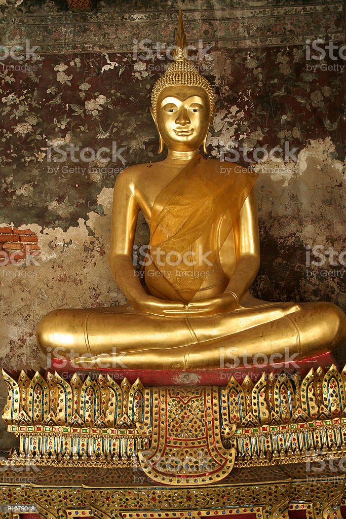 wat suthat golden seated buddha thailand royalty-free stock photo