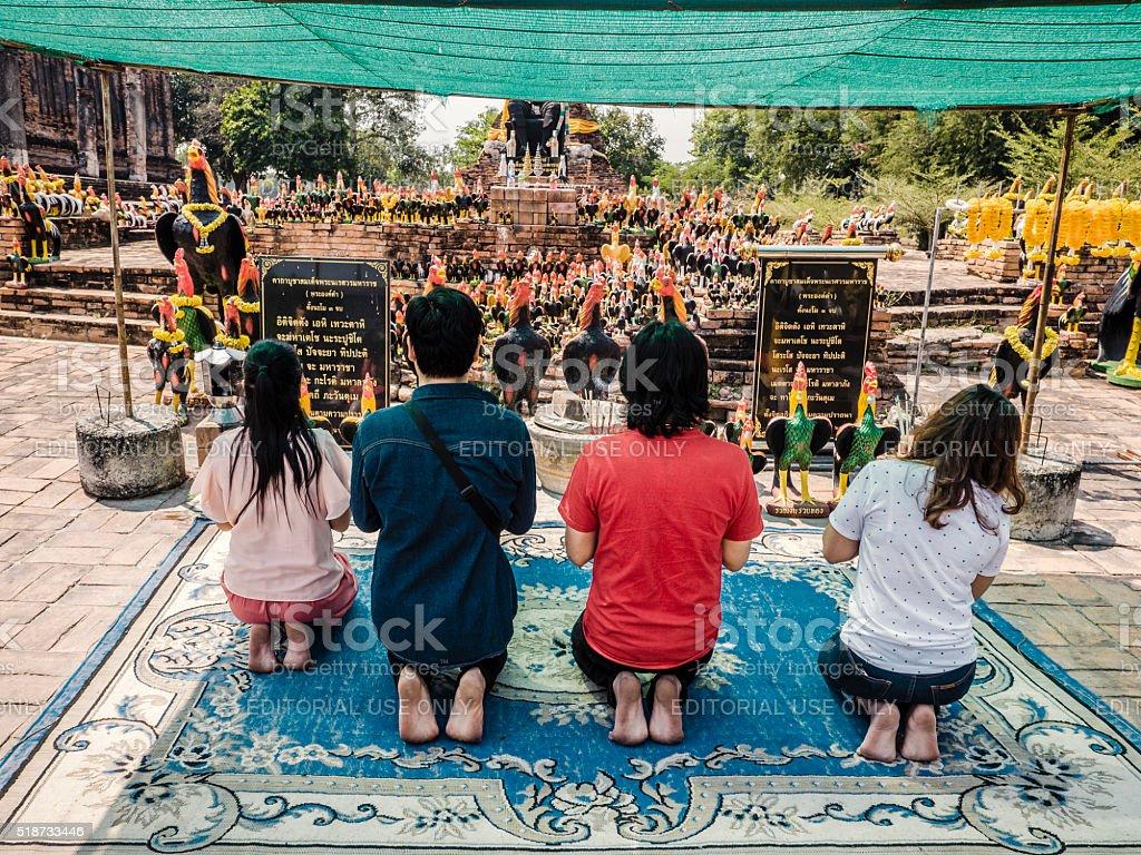 Wat Thammikarat shrine in Ayutthaya Thailand stock photo
