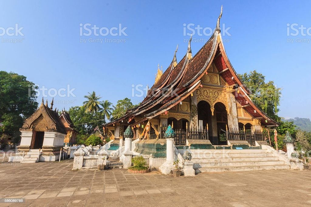 Wat Xieng Thong beautiful architecture of Luang Prabang, Laos. stock photo