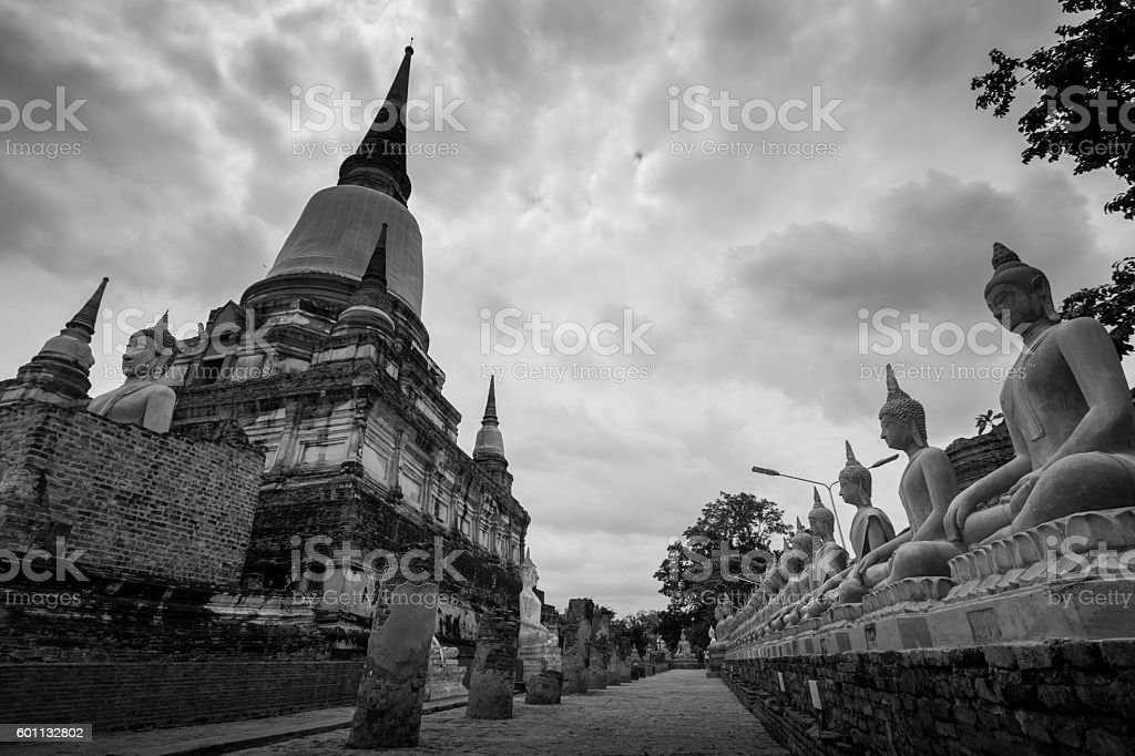 Wat Yai Chai Mongkol in Ayutthaya stock photo