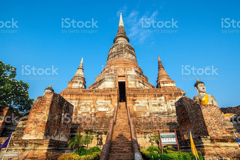 Wat yai chaimongkol Biggest brick old pagoda ,Old famous Temple stock photo