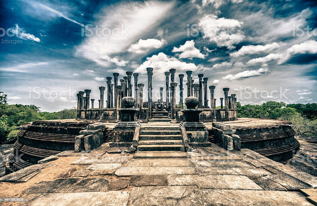 Watadage ancient ruins at Polonnaruwa in Medirigiriya, Sri Lanka stock photo